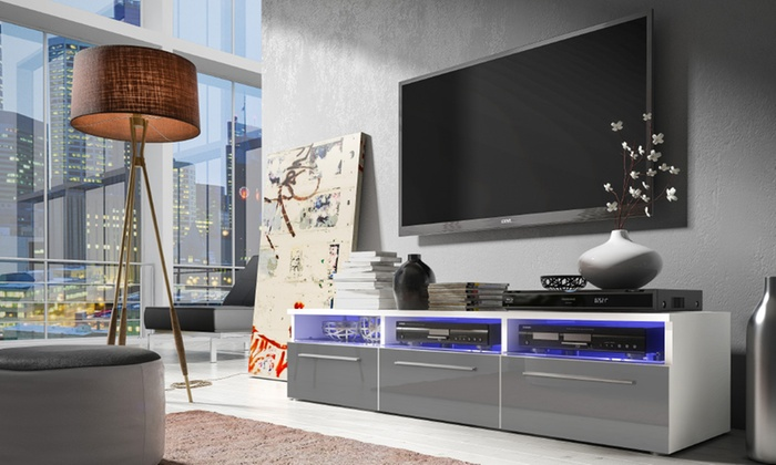 meuble tv avec led groupon. Black Bedroom Furniture Sets. Home Design Ideas