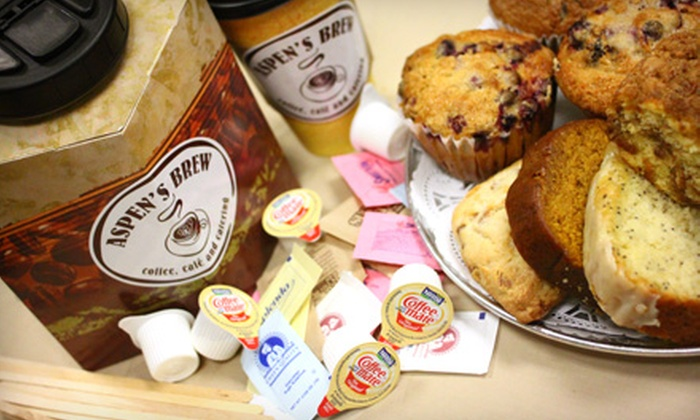 Aspen's Brew - Northwest Side: Café Fare, Coffee, and Tea from Aspen's Brew. Three Options Available.