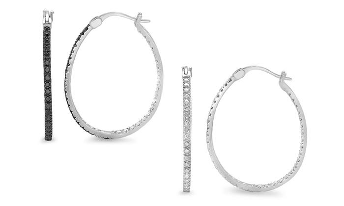 Black or White Diamond Accent Hoop Earrings: Black or White Diamond Accent Hoop Earrings. Free Returns.