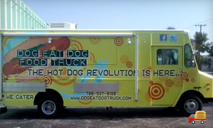 Dog Eat Dog Food Truck - Miami: $4 for $8 Worth of Gourmet Hot Dogs and Drinks from Dog Eat Dog Food Truck