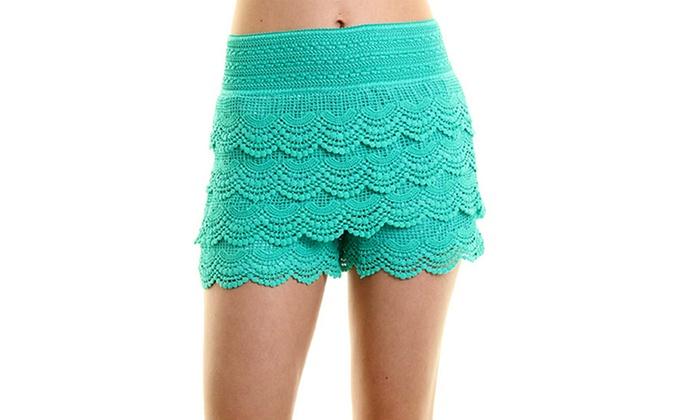 Womens Plus Size Crochet Shorts Groupon Goods