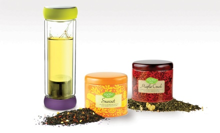 Twin-Lid Tea Bottle with Built-In Infuser and Two Tins of Tea. Multiple Flavors Available.