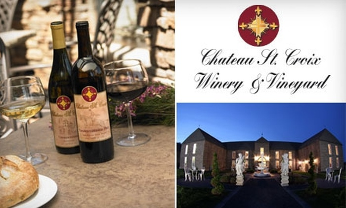 Chateau St. Croix Winery & Vineyard - Saint Croix Falls: $30 for a Winery Tour for Two, a Five-Wine Flight, and Two Bottles of Thoroughbred Red at Chateau St. Croix Winery & Vineyard in St. Croix Falls ($65.40 Value)