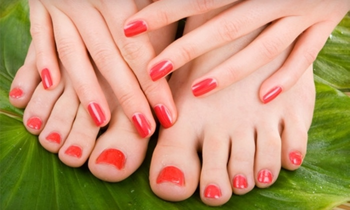 Miles Salon and Spray Tanning - Lexington-Fayette: $35 for Pedicure and a Shellac Manicure at Miles Salon and Spray Tanning ($70 Value)