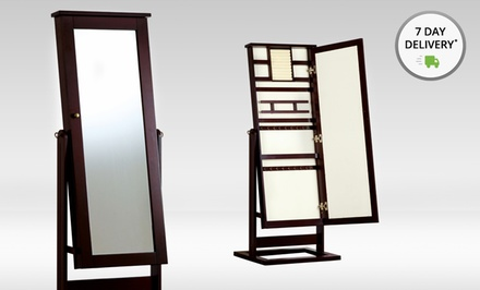 Hives and Honey Standing Cheval Jewelry Armoire with Mirror