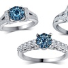 3/4—1.75 CTTW Blue and White Diamond Rings in 10K White Gold