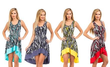 Women's High-Low Print Dress