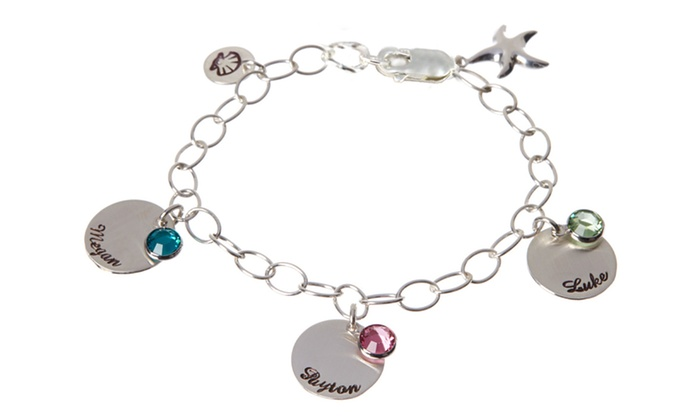Personalized Birthstone Starfish Charm Bracelet In Sterling Silver