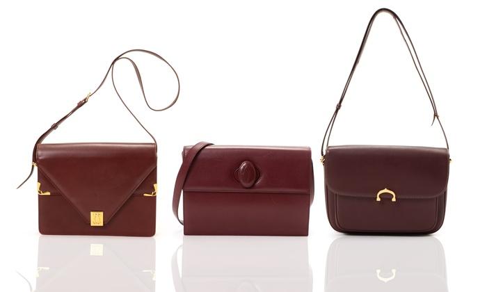 Cartier Vintage Leather Shoulder Bag Or Crossbody Bordeaux