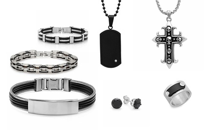 Men's Stainless Steel and Leather Accent Rings, Earrings, Bracelets, and Pendants from $14.99–$23.99