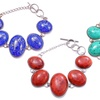 Genuine Turquoise, Coral, or Lapis and Stainless Steel Bracelets