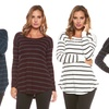 Women's Cozy Long-Sleeve Swing Sweater Top with Lace Trim