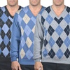 Enzo Mantovani Men's Argyle 100% Cashmere V-Neck Sweater