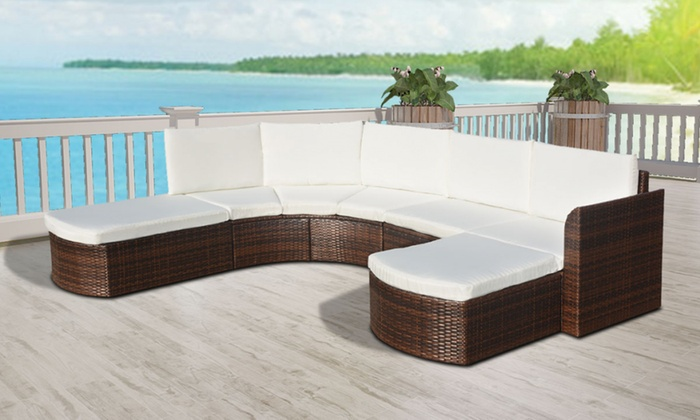 salon de jardin 16 pi ces en poly rotin groupon. Black Bedroom Furniture Sets. Home Design Ideas