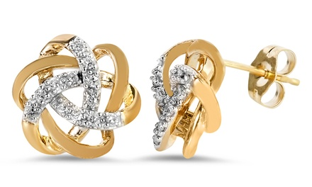 1/6 CTTW Gold-Plated Diamond Earrings in Sterling Silver