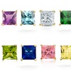 Princess-Cut Swarovski Elements Birthstone Stud Earrings
