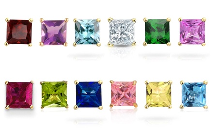 Princess-Cut Swarovski Elements Birthstone Stud Earrings in 18K Gold Plated Brass