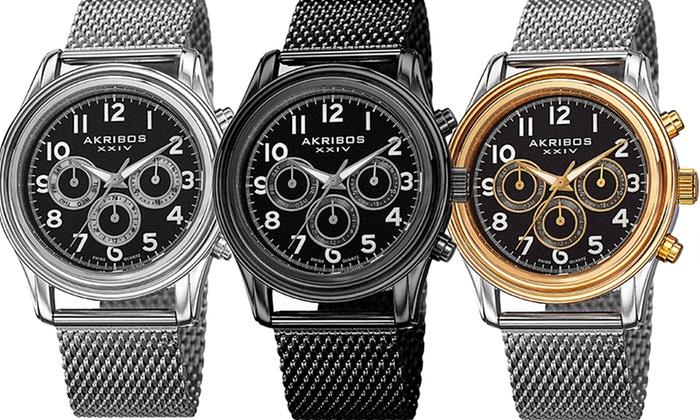 Akribos XXIV Men's Mesh Bracelet Watch: Akribos XXIV Men's Mesh Swiss Multifunction Bracelet Watch