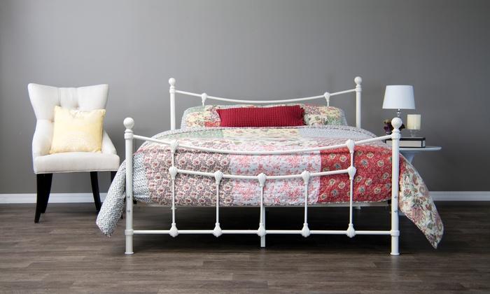 Virginia White Metal Bed Frame | Groupon Goods