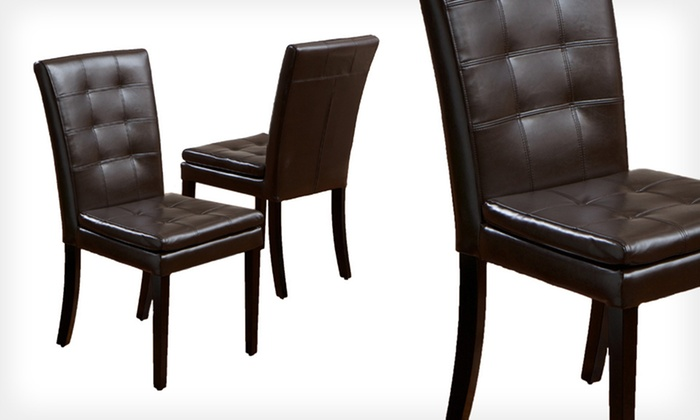 Two Barrington Leather Dining Chairs: $129 for Two Barrington Plush Brown Leather Dining Chairs ($279.99 List Price). Free Shipping.
