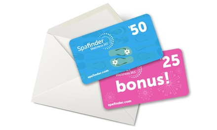 One $50 eGift Card with $25 Bonus Card from Spafinder Wellness 365 ($75 Value)