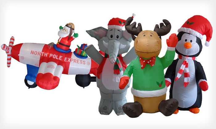 Christmas Inflatables: Penguin, Elephant, Reindeer, or Santa Christmas Inflatable (Up to 90% Off). Free Shipping for Purchases of $15 or More.