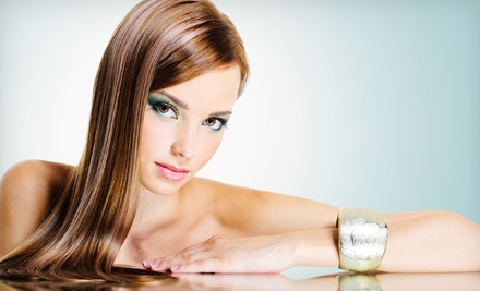 Brazilian Blowout or Haircut with Partial or Full Highlights or Color at A Visionary Salon (Up to 65% Off)