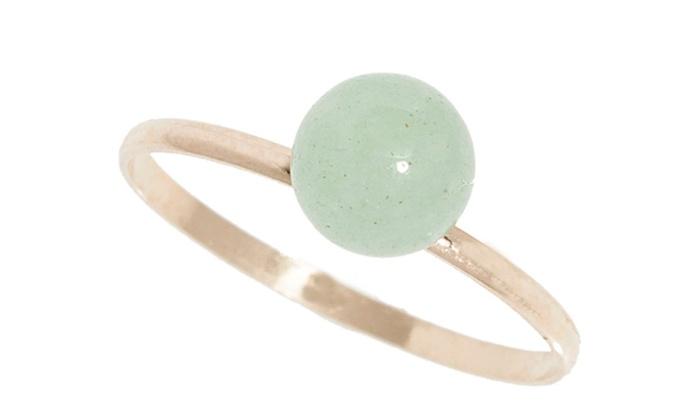f1d695db8f128 Light Green Jade Ball Ring in 14K Gold