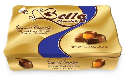 Bella Chocolate Gift Tin of Milk and Dark Chocolate–Covered Caramels