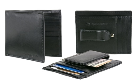 Alpine Swiss Men's Leather Wallets, Money Clips, or Card Cases