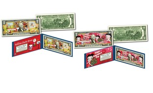 Peanuts or Betty Boop Colorized Genuine U.S. Legal Tender $2 Bill
