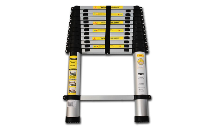 12 5 Extension Telescoping Aluminum Ladder : Telescoping aluminum extension ladder groupon