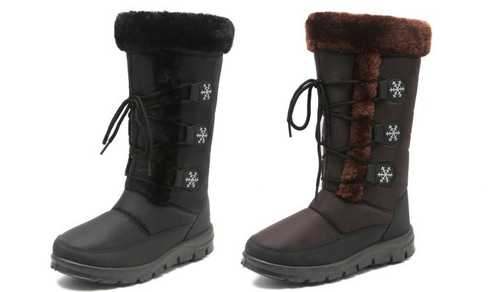 2f8b3a0a37a SFD Women s Waterproof Fur-Insulated Non-Skid Wide Snow Boots