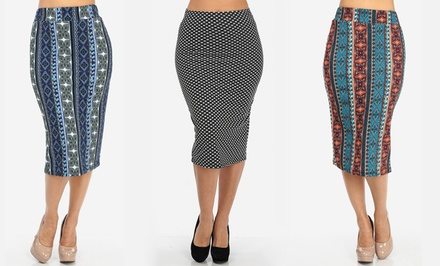 Women's Abstract Print Midi Skirts