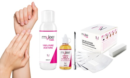 Mylee Pure Acetone Nail Polish Remover 600ml or FivePiece Gel Removal Kit