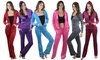 Women's Hooded Velour Loung Tracksuit Set (2-Piece)