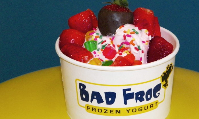 Bad Frog Frozen Yogurt - University Park: One or Three Groupons for Fro-Yo or Dizzy Frogs at Bad Frog Frozen Yogurt (Up to 50% Off)