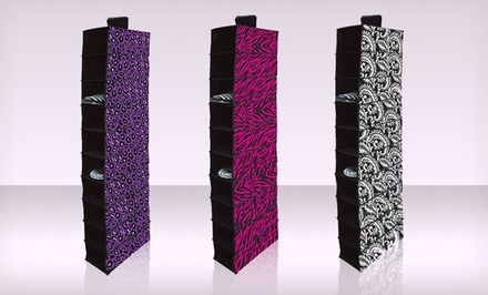 10-Shelf Hanging Closet Organizer in Black Floral, Pink Zebra, or Purple Cheetah