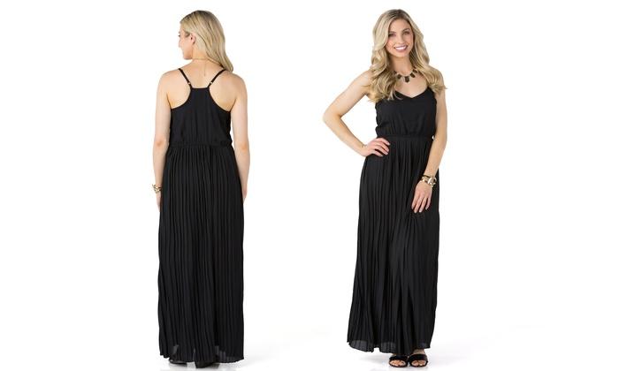Sociology Womens Pleated Racerback Maxi Dress Sizes S Xl Groupon