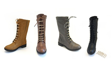 Carrini Women's Military-Inspired Lace Up Boots with Metallic Lace Accents