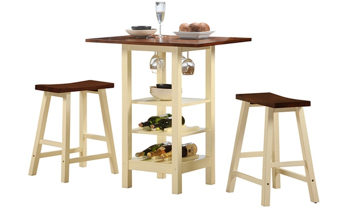 Kirkland Bistro Table Set With Wine Storage Piece Groupon - Bistro table set