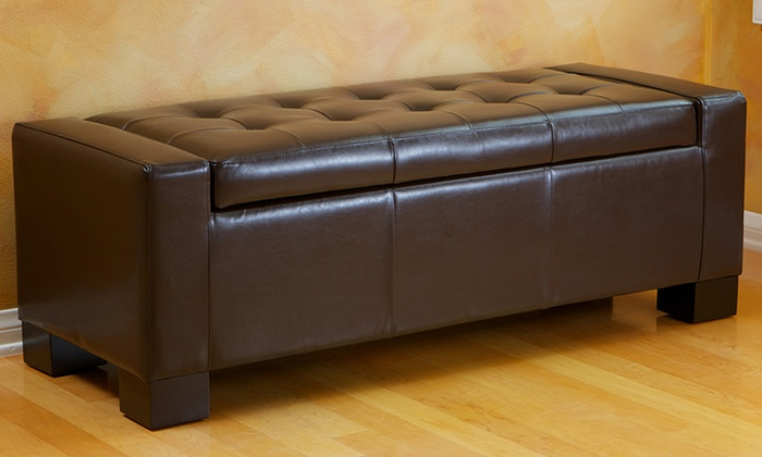 - 44% Off On Tufted Leather Storage Ottoman Groupon Goods