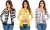 Striped Crew-Neck Button-Down Cardigan: Striped Crew-Neck Button-Down Cardigan