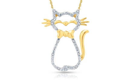 1/10 CTTW Diamond Cat Pendant in 10K Yellow Gold