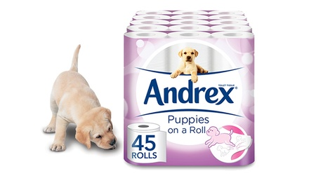 45, 90 or 135 Rolls of Andrex Puppies on a Roll Toilet Paper