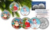 Merry Christmas 2015 JFK Colorized Half Dollar 3-Coin Set: Merry Christmas 2015 JFK Colorized Half Dollar 3-Coin Set in Ornament Capsules