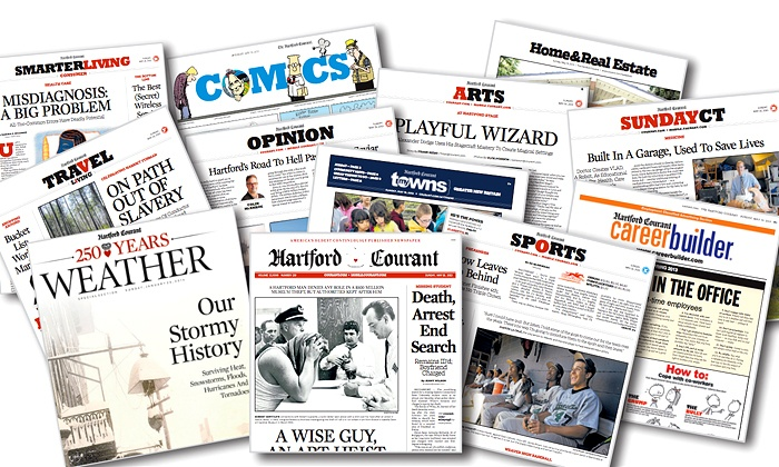 """Hartford Courant - Hartford: 52-Week Sunday-Only or Thursday–Sunday Subscription to the """"Hartford Courant"""" (Up to 93% Off)"""