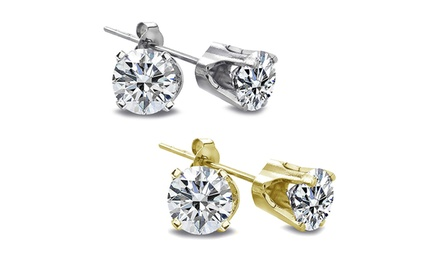 groupon daily deal - 1/2 CTW Round Diamond Stud Earrings