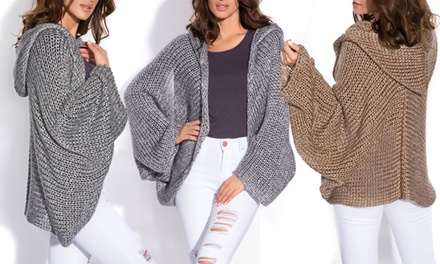 Hooded Knitted Cardigan in Choice of Colour for £17.99