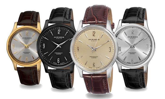 Akribos XXIV Swiss Men's Leather-Strap Watches: Akribos XXIV Swiss Men's Leather-Strap Watches in Black, Brown, Silver Tone, or Gold Tone. Free Returns.